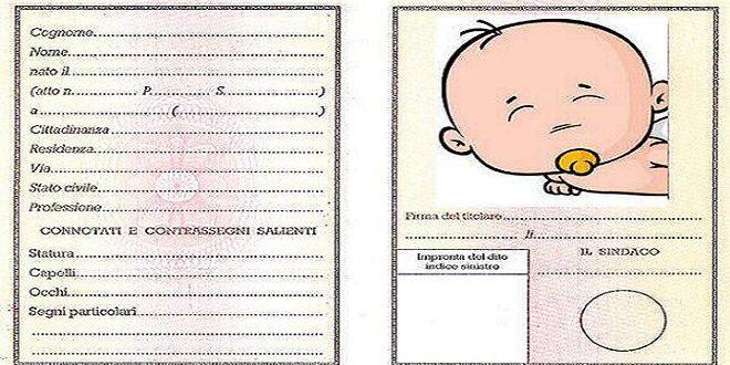 Carta identità bambini