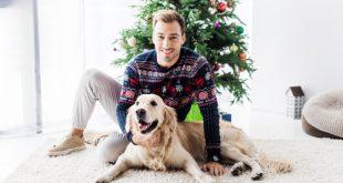 ragazzo con maglione natalizio e cane